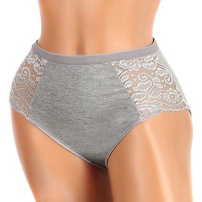 Vysoké kalhotky s krajkou na bocích - i pro plnoštíhlé šedá