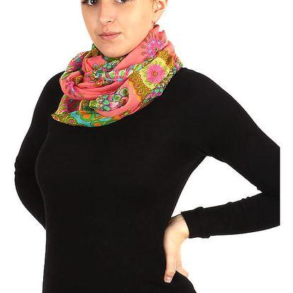 Nápaditý kruhový šátek růžová