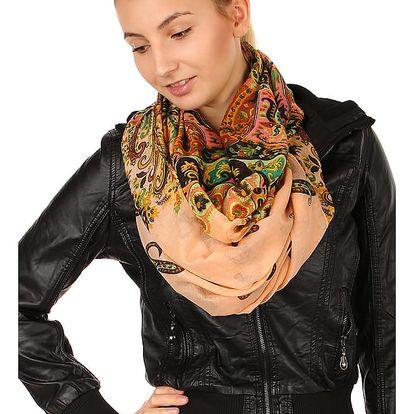 Kruhový šátek s nápaditým potiskem lososová