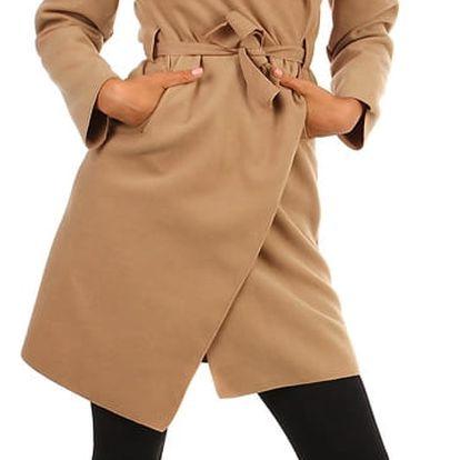 Dlouhý kabát - kardigan s páskem světle hnědá