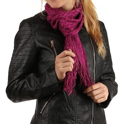 Pletená šála s třásněmi fialová