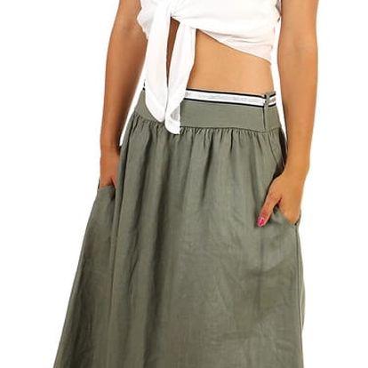Dlouhá jednobarevná sukně s kapsami khaki