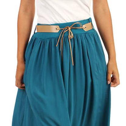 Jednobarevná maxi sukně s kapsami petrolejová