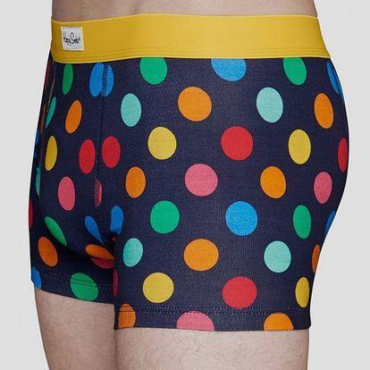 Boxerky Happy Socks modré s barevnými puntíky vzor Big Dot Modrá