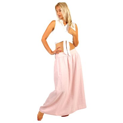 Dlouhá jednobarevná sukně s kapsami růžová