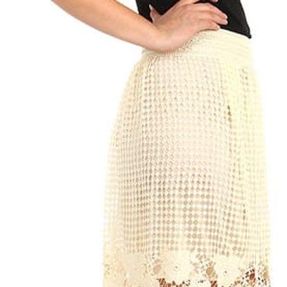 Děrovaná sukně do pasu s krajkou II.jakost béžová