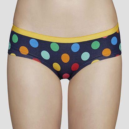 Kalhotky Happy Socks modré s barevnými puntíky vzor Big Dot Modrá