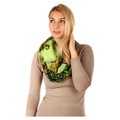 Kruhový šátek s nápaditým potiskem zelenomodrá