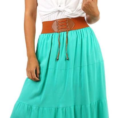 Jednobarevná maxi sukně s ozdobným pasem zelená