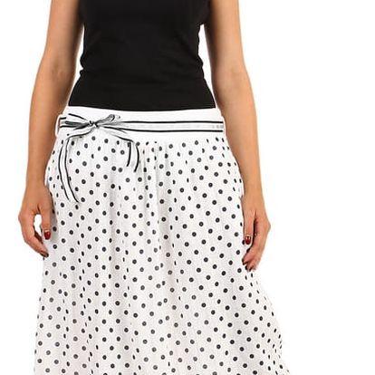 Lněná dámská puntíkovaná sukně s kapsami bílá