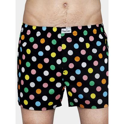 Trenýrky Happy Socks černé s barevnými puntíky vzor Big Dot Barevná