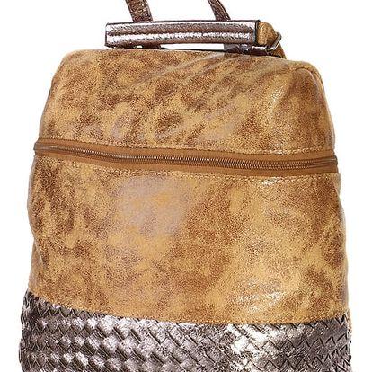 Malá lesklá kabelka/batoh 2v1 hnědá