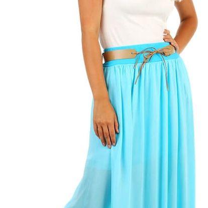 Dámská maxi sukně s kapsami světle modrá