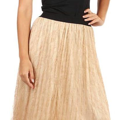 Delší sukně s vrstvou krajky béžová