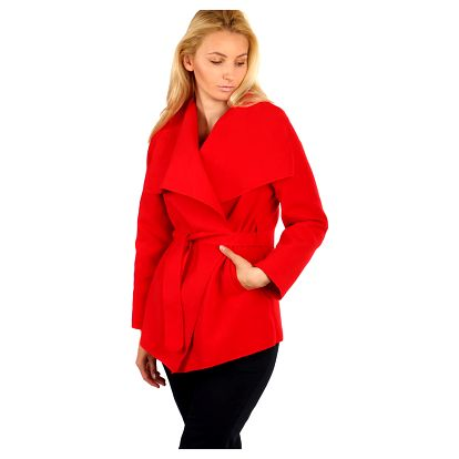 Módní kardigan s páskem červená