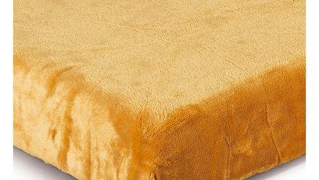 Jahu Prostěradlo Mikroplyš tmavě žlutá, 180 x 200 cm
