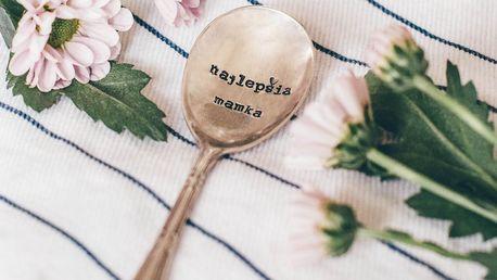 La de da! Living Postříbřená čajová lžička Najlepšia mamka, stříbrná barva, kov