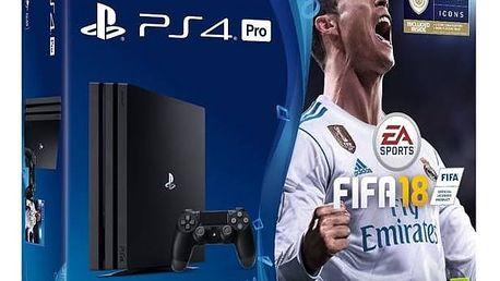 Herní konzole Sony PlayStation 4 PRO 1TB + FIFA18 + PS Plus 14 dní (PS719914365) černá + Doprava zdarma