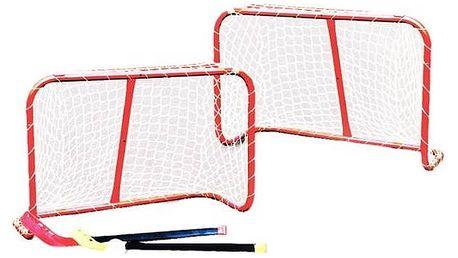 Brankový set Master s hokejkami 81 x 54 x 31 cm bílý/červený + Doprava zdarma