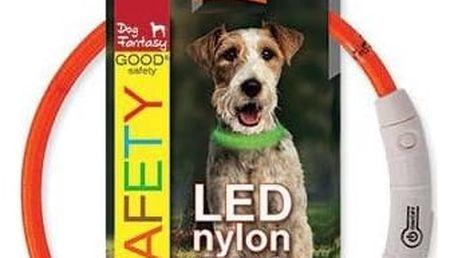 Obojek Dog Fantasy LED nylonový S/M oranžový
