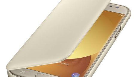 Pouzdro na mobil flipové Samsung Wallet Cover pro J5 (2017) (EF-WJ530CFEGWW) zlaté