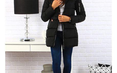 Dámská černá prošívaná zimní bunda s kapucí (ty0120) Barva: Černá, Velikost: XXL