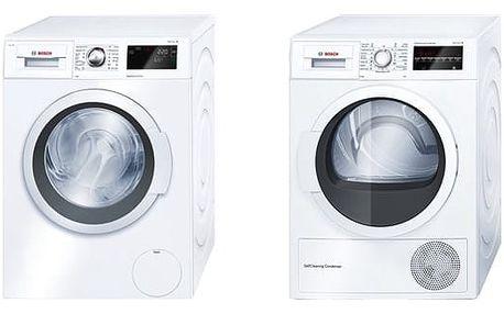 Set (Sušička prádla Bosch WTW85460BY) + (Automatická pračka Bosch WAT28660BY) + DOPRAVA ZDARMA