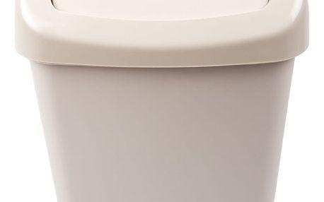 Odpadkový plastový výklopný koš 50 l, krémová