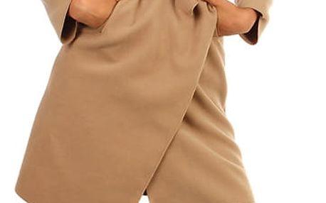 Dlouhý dámský kabát - kardigan s páskem světle hnědá