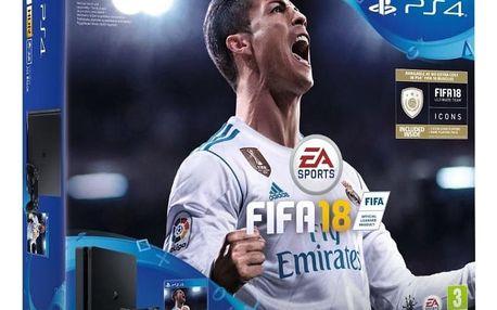 Herní konzole Sony PlayStation 4 Slim, 1TB, černá + FIFA18 + PS Plus 14 dní