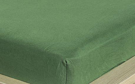 4Home jersey prostěradlo olivově zelená, 160 x 200 cm