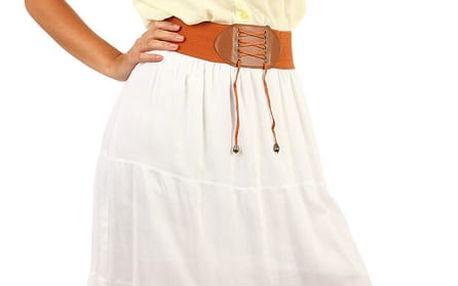 Dámská maxi sukně s ozdobným pasem bílá