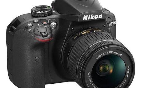 Digitální fotoaparát Nikon D3400 + AF-P 18-55 NON VR (VBA490K002) černý + DOPRAVA ZDARMA