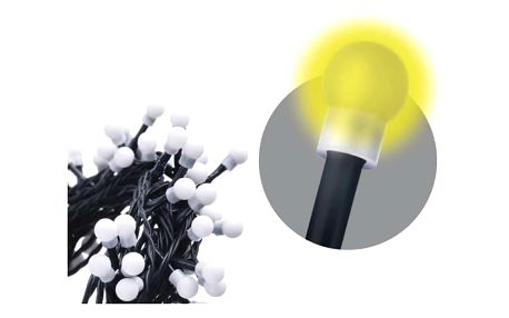 Vánoční osvětlení EMOS 200 LED, 20m, řetěz (kulička), teplá bílá, časovač, i venkovní použití (1534160015)