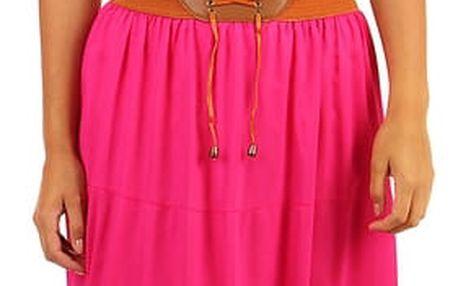 Jednobarevná maxi sukně s ozdobným pasem růžová