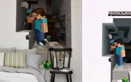 3D samolepka na stěnu Minecraft