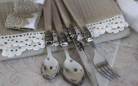 Chic Antique Sada příborů Silver deco Champagne - 16 ks, béžová barva, kov, plast