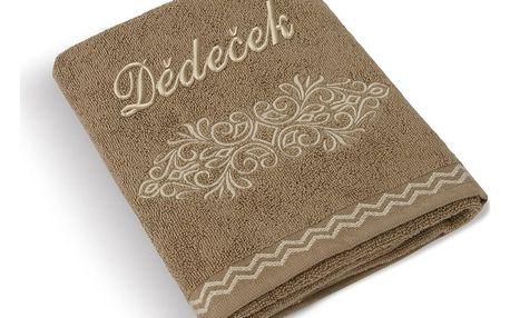 Bellatex Froté ručník 50x100 Béžová řada 169/018 s výšivkou Dědeček