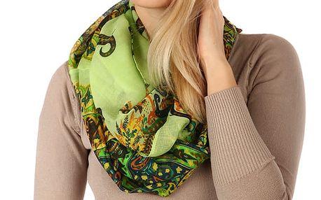Kruhový šátek s nápaditým potiskem zelená