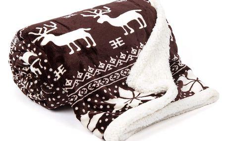 JAHU Beránková deka Sob hnědá, 150 x 200 cm