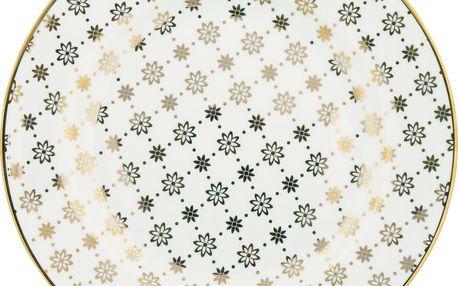 GREEN GATE Dezertní talíř Laurie gold, bílá barva, zlatá barva, porcelán