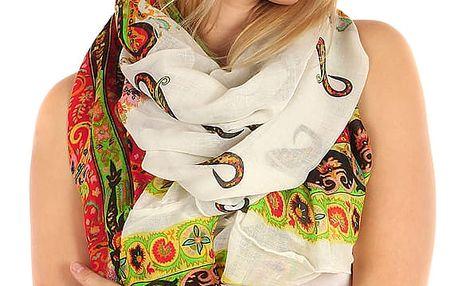 Kruhový šátek s nápaditým potiskem bílá