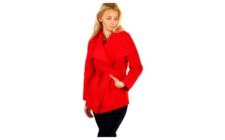 Dámský krátký kabátek s páskem červená