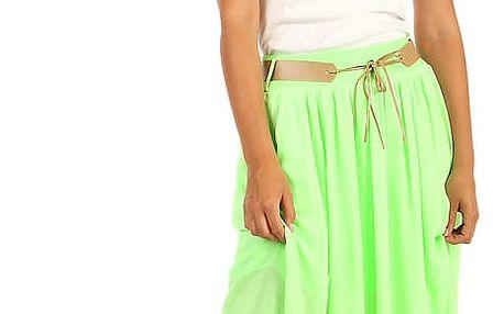 Dámská maxi sukně v neonových barvách neon zelená