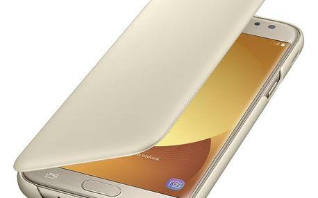 Pouzdro na mobil flipové Samsung Wallet Cover pro J5 2017 (EF-WJ530CFEGWW) zlaté