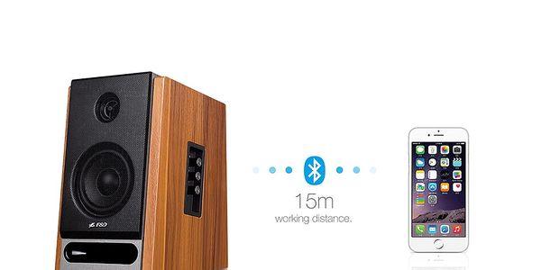 Reproduktory Fenda F&D R25BT 2.0, bluetooth, NFC (R25BT) dřevo2