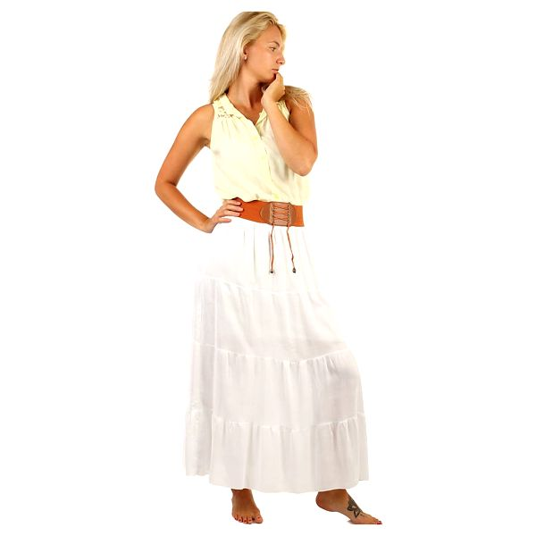 Jednobarevná maxi sukně s ozdobným pasem bílá