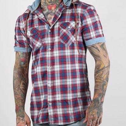 Košile Alcott HOODY SHORT SLEEVE WITH CHECKS Červená