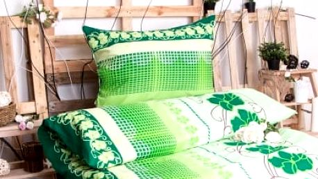 XPOSE ® Bavlněné povlečení na dvě lůžka AMÁLIE - zelená 140x200, 70x90
