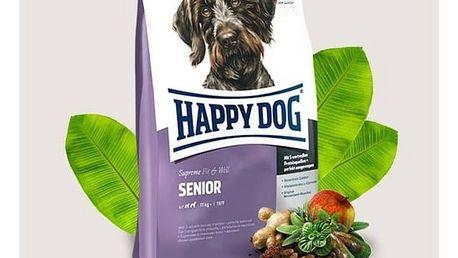Granule HAPPY DOG Senior 12,5 kg Konzerva HAPPY DOG Wild Pur - 100% maso zvěřiny 200 g (zdarma) + Doprava zdarma